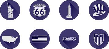 A Set of Flat Icons of the USA. royalty free stock photo