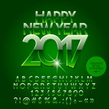 Vector glossy green Happy New Year 2017 greeting card Stock Image