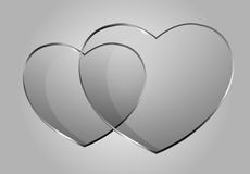Vector glossy hearts. Vector beautiful glossy hearts. Looks like realistic glass. Icon and background. Clear and transparent Stock Photos