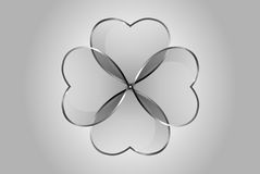 Vector glossy hearts clover. Vector beautiful glossy glass hearts and clover. Looks like realistic glass. Icon and background. Clear and transparent quarterfoil Stock Images