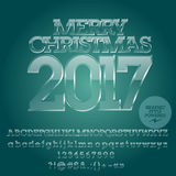 Vector glossy ice Merry Christmas 2017 greeting card Stock Images