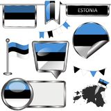 Glossy icons with flag of Estonia Stock Image