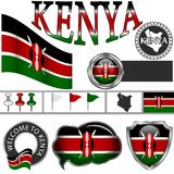 Glossy icons with flag of Kenya Royalty Free Stock Photo