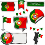 Glossy icons with flag of Portugal Stock Photography