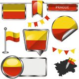 Glossy icons with flag of Prague Royalty Free Stock Image