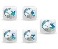 Vector glossy icons with globe and currency signs Royalty Free Stock Photography