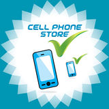 Vector Glossy Mobile Phone Store, Accept Icon, But Stock Photography