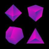 Vector glossy platonic solids set Royalty Free Stock Image