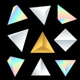 Vector glossy platonic solids set. Vector various jewelry silver gold pearl gradients colorful various angles of cube tetrahedron decoration shapes collection Stock Image