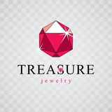 Vector glossy red ruby. Brilliant jewelry sign emblem, illustrat. Ion Royalty Free Stock Image