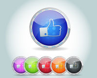 Vector Glossy Round Like Icon Button and multicolo Royalty Free Stock Images
