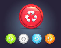 Vector Glossy Round Recycle Icon Button. Vector icons, you can change this image that it was uploaded also with eps10 file Royalty Free Stock Images