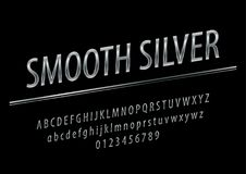 Vector glossy sign Silver Smooth. Chic Silver rotated Alphabet Letters, Numbers and Symbols. stock illustration