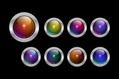 Vector glossy web buttons collection. Vector eps 10 round silver framed colorful glossy web buttons collection Stock Photos