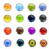 Vector glossy web icon button. Circle shiny glossy web icon/buttons Royalty Free Stock Photo