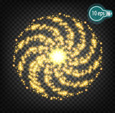Vector glow of charged particles. Star with a dusty trace of sparkling particles isolated on a transparent background. Stock Image