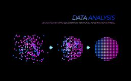 Vector Glowing Big Data Analysis Illustration, Technology Elements Isolated. royalty free illustration