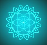 Vector Glowing Flower of Life Symbol Illustration on a Gradient Background. Vector Glowing Flower of Life Symbol Illustration on a Gradient Teal Background royalty free illustration