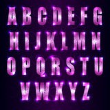 Vector glowing font with swirls on dark purple background Stock Photography