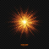 Vector Glowing Golden Particles Explosion Effect Design Element. Abstract bright golden shimmer glowing particles transparent vector background. Scatter shining Stock Images