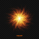 Vector Glowing Golden Particles Explosion Effect Design Element. Abstract bright golden shimmer glowing particles transparent vector background. Scatter shining Royalty Free Stock Image