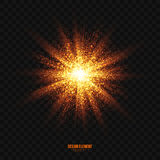 Vector Glowing Golden Particles Explosion Effect Design Element. Abstract bright golden shimmer glowing particles transparent vector background. Scatter shining royalty free illustration