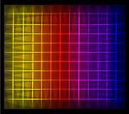 Vector glowing grid. Vector yellow orange red purple and blue glowing grid on a black background Stock Images