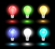 Vector glowing light bulb ideas. Glowing light bulb ideas, Vector illustration modern design template Stock Photography