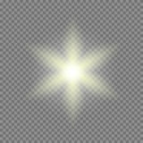 Vector glowing light bursts with sparkles on transparent background Royalty Free Stock Photography