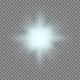 Vector glowing light bursts with sparkles on transparent background Stock Photography