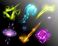 Vector Glowing Light Effect set. Sparkling Efect Design Element Collection. Stars, Planet, Comet, Galaxy, Asteroid Stock Images