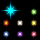 Vector glowing lights, stars and sparkles 55 Stock Image