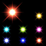 Vector glowing lights, stars and sparkles 33 Royalty Free Stock Images