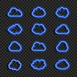 Vector Glowing Neon Blue Clouds Set Isolated on Dark Transparent Background, Icons Collection, Data Cloud, Weather Sign. royalty free stock images