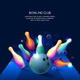 Vector glowing neon bowling club banner or poster with multicolor 3d bowling balls and pins. Abstract colorful shapes illustration on black background Royalty Free Stock Photography