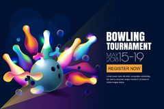 Vector glowing neon bowling tournament banner or poster with multicolor 3d bowling balls and pins. Abstract colorful shapes illustration on black background Royalty Free Stock Photography