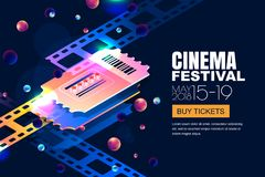 Vector glowing neon cinema festival banner. Cinema tickets in 3d isometric style on abstract night cosmic sky background. Design template with copy space for Royalty Free Stock Photos
