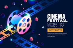 Vector glowing neon cinema festival banner. Film reel in 3d isometric style on abstract night cosmic sky background. Design template with copy space for movie vector illustration