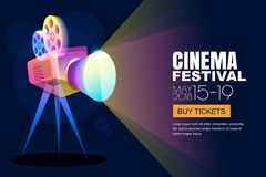 Vector glowing neon cinema festival poster or banner background. Colorful 3d style movie camera with film spotlight. Sale cinema theatre tickets, movie time royalty free illustration