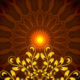 Vector Glowing Orange Mandala with floral ornament Stock Photos