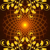 Vector Glowing Orange Mandala with floral ornament Royalty Free Stock Images