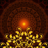 Vector Glowing Orange Mandala with floral ornament Stock Photography