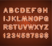 Vector Glowing Orange Neon Bar Alphabet. Glowing Orange Neon Bar Alphabet Stock Photo
