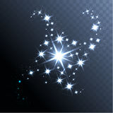 Vector glowing stars ghts and sparkles Stock Image