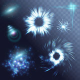 Vector glowing stars ghts and sparkles Royalty Free Stock Image