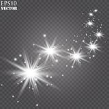 Vector glowing stars, lights and sparkles. Transparent effects royalty free illustration