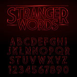 Vector Glowing Vintage Stylized Alphabet on black background Stock Image