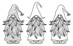 Free Vector Gnomes Cartoons, Black Silhouettes. Royalty Free Stock Image - 127379116