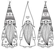 Free Vector Gnomes Cartoons, Black Silhouettes. Stock Image - 127379411