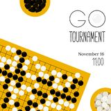 Vector go tournament poster with goban and bowls stock images
